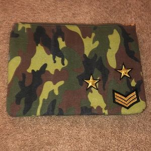 Zara camo clutch bag